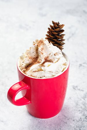 Cold Coffee with Ice Cream and Cinnamon on Top Decorated Pine Cone in Red Cup Isolated on White Background. Frozen Fresh Energy Aromatic Barista Delicious Morning Tasty Sweet Breakfast Drink Mousse