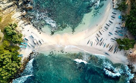 Blue beach island Nilwella. Aerial view of the south coast of the island of Sri Lanka.