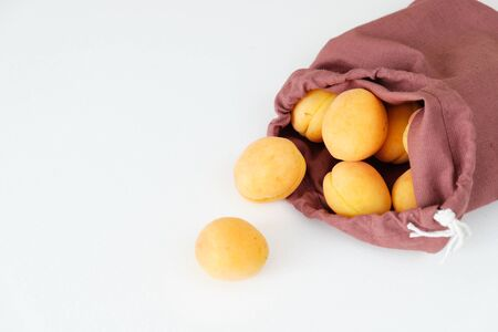 Heap of Fresh Ripe Apricot in Bag on White Table, Full Knotted Pouch and Plant in Wicker Vase Copy Space. Composition Photo Agricultural Juicy Natural Sweet Eco Dessert Orange Fruit