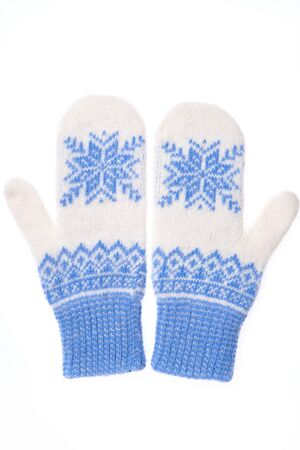 Warm woolen knitted mittens isolated on white background. Blue k