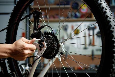 Man repairing a bicycle. Bicycle mechanic working