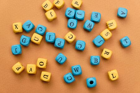 English alphabet from cubes. Color cubes