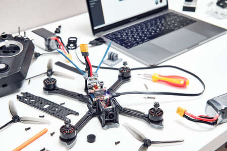 Tyumen, Russia - June 25, 2020: Racing drone. FPV high-speed racing drone