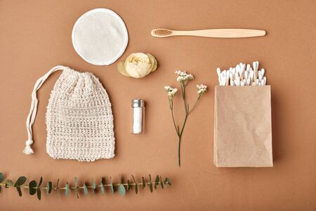 Eco friendly natural cleaning tools and products. Zero waste concept