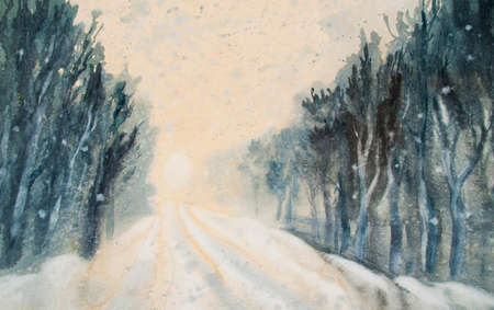 Snowstorm winter wind watercolor landscape background