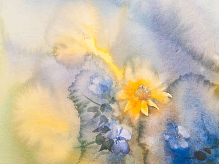 yellow and blue flower marguerite watercolor nature background