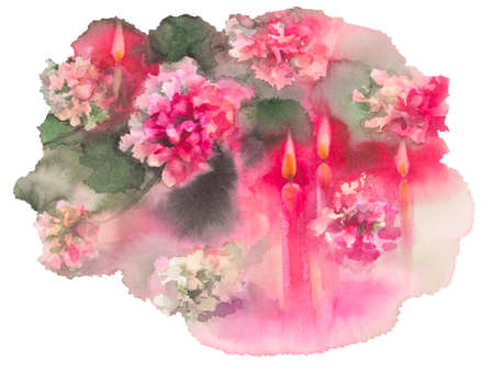 advent candles: chrysanthemums with candles isolated watercolor christmas card Stock Photo