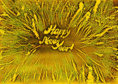 frosty snowflakes gold frame new year watercolor handmade background Stock Photo