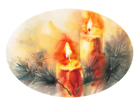 advent candles: Watercolor isolated illustration of Christmas tree, decorated with candles, new year, Christmas celebration Stock Photo