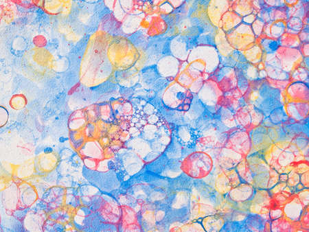 froth: Watercolor hand drawn bubbles colorful soap froth