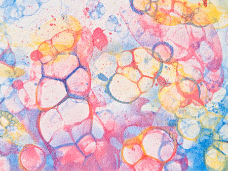 Watercolor hand drawn bubbles colorful soap froth