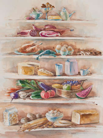 dietary fiber: diet pyramid country style watercolor of fruit and vegetables high in antioxidants, dietary fiber, minerals, anthocyanins and vitamins Stock Photo