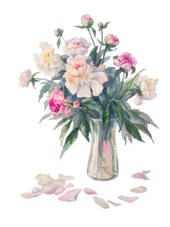 bouquet of white and pink peonies watercolor illiustration