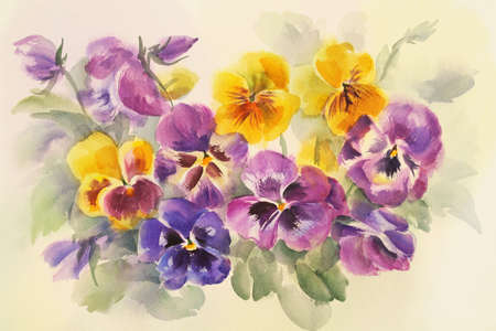 Watercolor painting of purple flower. Can be used as a greeting card for background, birthday, mothers day and textile patterns. Background for web pages, wedding invitations, wallpaper. Stock Photo