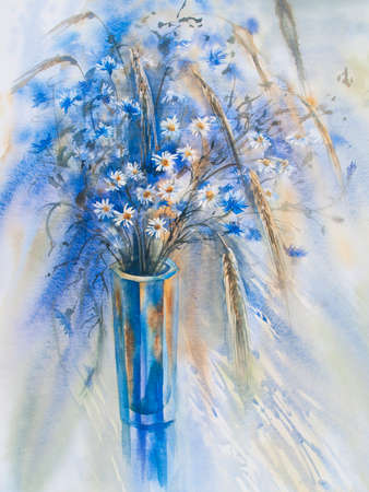 cornflowers: cornflowers and camomiles in the glass vase watercolor