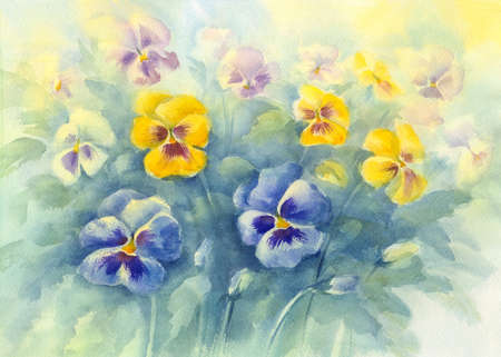 violas: bouquet of violas green background watercolor