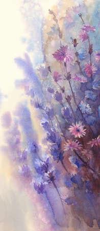 field flowers: blue pink flower watercolor background