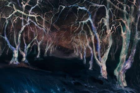 garden path: apple tree night winter garden watercolor