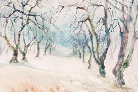 garden path: apple tree winter garden watercolor