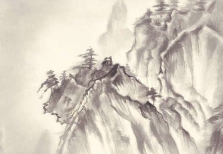 sumi e: montains landscape ink painting