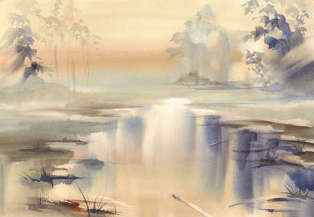 river in the mist watercolor landscape Banco de Imagens
