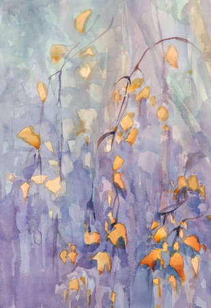 autumn birch leaves watercolor