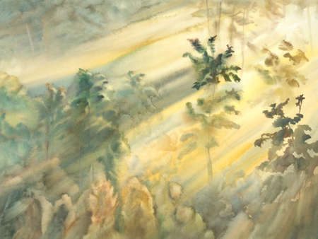 dawning: sunny morning forest landscape watercolor Stock Photo