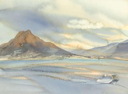 Vesuvius volcano landscape watercolor background