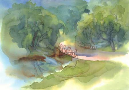 landscape with bridge watercolor