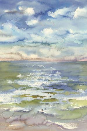 水彩の海の波と雲