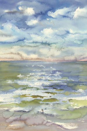 watercolor sea waves and clouds