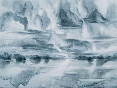 rainy landscape watercolor background