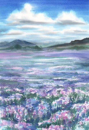 Lavender field landscape watercolor. Clouds in the sky.