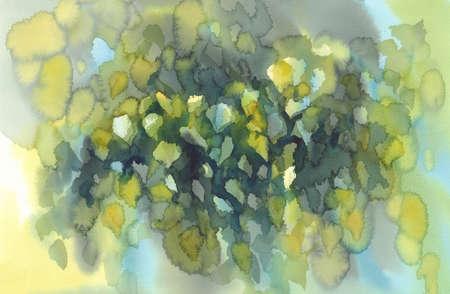 녹색 자작 나무 수채화 배경 나뭇잎 스톡 콘텐츠