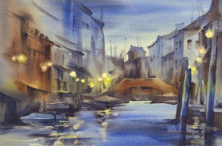 Nocturne waterverf van Venetië