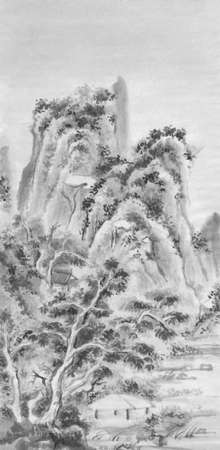 mountains landscape chinese ink painting