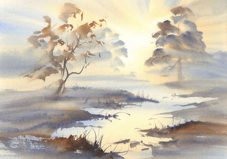 swamp watercolor landscape
