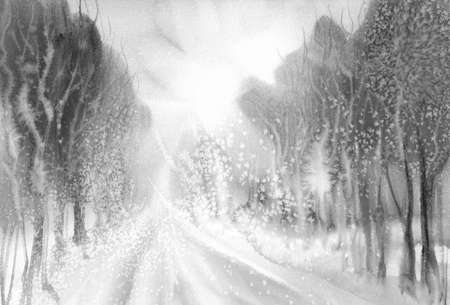 Winter road watercolor landscape