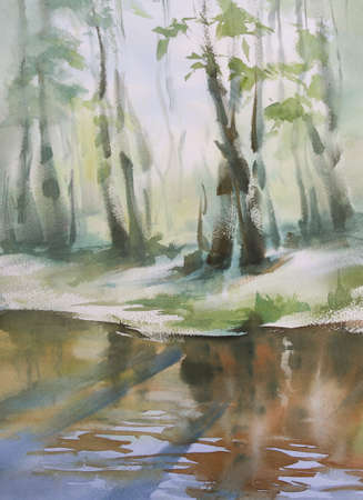spring landscape with a river watercolor