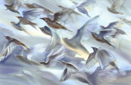 A flock of birds flying watercolor background. Silhouettes of the wings
