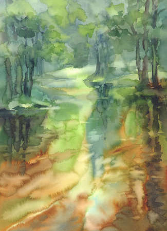 forest and river landscape watercolor background