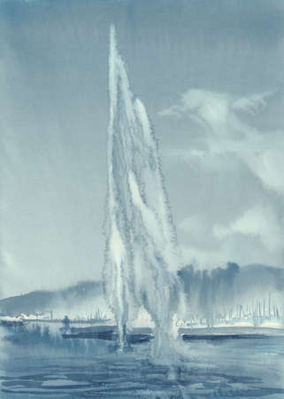 Geneva lake landscape with fountain and mountains watercolor Banque d'images - 107385448