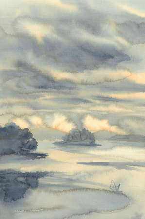 Summer lake with clouds and a yacht watercolor