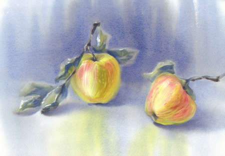 Yellow apples in the blue background watercolor still-life