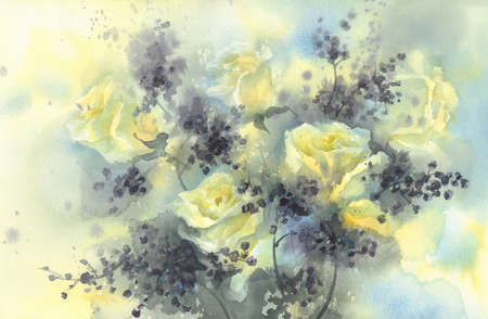 A bouquet of white roses with black berries watercolor background. Stock fotó