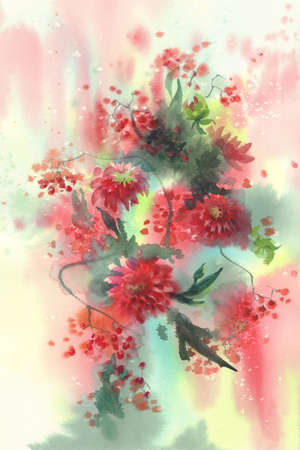 Red dahlias with rowan berries watercolor background