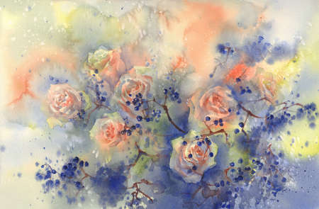 A bouquet of orange roses with blue berries watercolor background.
