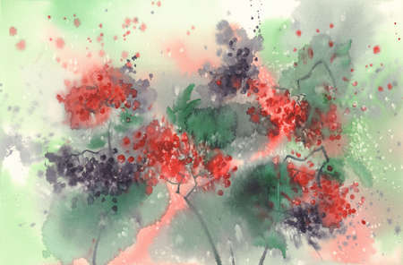 Branches of red and black berries watercolor background.