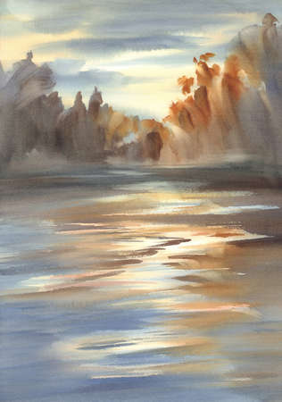 Autumn landscape in the evening light watercolor background