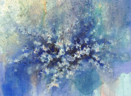 A sakura flowering in the night rainy watercolor background.